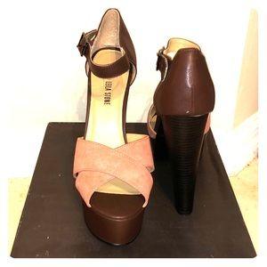 Dark brown / clay platform heels